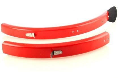 Brommiemods CHPT3 red L -type mudguards for Brompton folding bicycles (without rack)