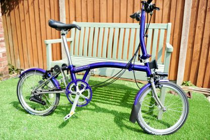 Purple metallic glitter lacquer Brompton Mudguards from Brommiemods